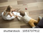 kids sister and brother playing ... | Shutterstock . vector #1053737912