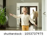 cute funny boy running in... | Shutterstock . vector #1053737975