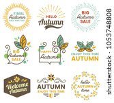 autumn label vintage vector... | Shutterstock .eps vector #1053748808