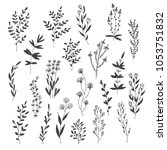 hand drawn vector set with... | Shutterstock .eps vector #1053751832