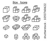 box icon set in thin line style | Shutterstock .eps vector #1053760622