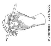 Hand with a pencil - stock vector
