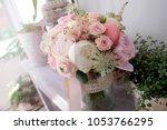 bridal bouquet. beautiful... | Shutterstock . vector #1053766295