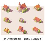vector low poly isometric city... | Shutterstock .eps vector #1053768095