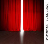 theater red curtain slightly...   Shutterstock . vector #1053782528