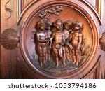 wood sculpture in florence... | Shutterstock . vector #1053794186