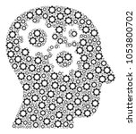 intellect gears collage of cog... | Shutterstock . vector #1053800702