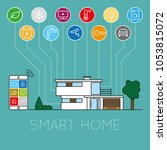 smart home concept flat vector... | Shutterstock .eps vector #1053815072