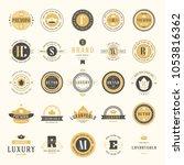 retro vintage logotypes set.... | Shutterstock .eps vector #1053816362