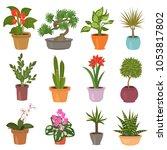 home flower flat icon set | Shutterstock .eps vector #1053817802