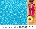 attractive woman enjoying... | Shutterstock . vector #1053821015