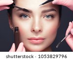 beautiful young girl with... | Shutterstock . vector #1053829796