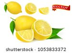lemon juice fresh fruit  3d... | Shutterstock .eps vector #1053833372