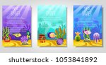 set of different banners with...   Shutterstock .eps vector #1053841892