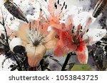 lilies. modern abstract art in...   Shutterstock . vector #1053843725