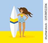 surfer girl flat vector... | Shutterstock .eps vector #1053852206