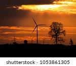 wind turbine power generator on ...   Shutterstock . vector #1053861305