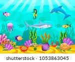 marine life landscape ocean or... | Shutterstock .eps vector #1053863045