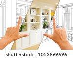 hands framing custom built in... | Shutterstock . vector #1053869696