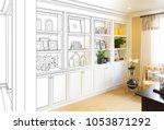 custom built in shelves and... | Shutterstock . vector #1053871292