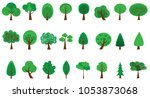 set of green trees collection... | Shutterstock .eps vector #1053873068