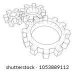 3d gear wheel. vector rendering ... | Shutterstock .eps vector #1053889112