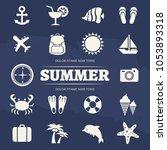 summer vacation icons set  ... | Shutterstock . vector #1053893318