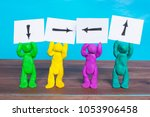 plasticine people holding notes ... | Shutterstock . vector #1053906458