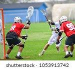 lacrosse goalie protecting the... | Shutterstock . vector #1053913742