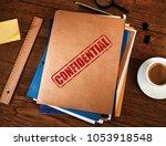 confidential manila folders | Shutterstock . vector #1053918548