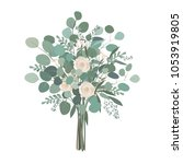 wedding bouquet with rose... | Shutterstock .eps vector #1053919805
