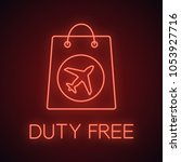 duty free purchase neon light... | Shutterstock .eps vector #1053927716