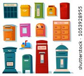 vector set of mailboxes  letter ... | Shutterstock .eps vector #1053928955