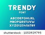 trendy modern geometric font... | Shutterstock .eps vector #1053929795