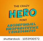comic cartoon crazy hero font. ... | Shutterstock .eps vector #1053930572