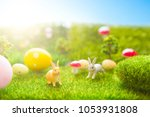 happy easter concept. easter... | Shutterstock . vector #1053931808