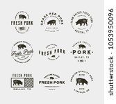 set of premium fresh pork... | Shutterstock .eps vector #1053950096