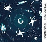 space orbit spaceships cosmos... | Shutterstock .eps vector #1053950162