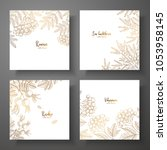 collection of square gold cards ... | Shutterstock .eps vector #1053958145