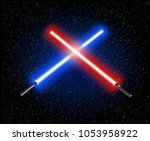 two crossed light swords star... | Shutterstock .eps vector #1053958922