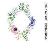 blue hydrangea flower with... | Shutterstock .eps vector #1053959708