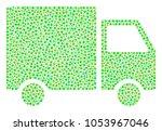 shipment van mosaic of dots in... | Shutterstock .eps vector #1053967046
