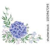 blue hydrangea flower with... | Shutterstock .eps vector #1053967295