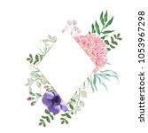 hydrangea flower with leaves ... | Shutterstock .eps vector #1053967298