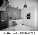 modern black and white kitchen...   Shutterstock . vector #1053969995