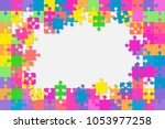 colorful background puzzle.... | Shutterstock .eps vector #1053977258