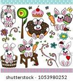 cute bunny set digital elements | Shutterstock .eps vector #1053980252