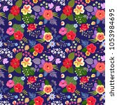 seamless exotic floral pattern... | Shutterstock .eps vector #1053984695
