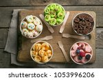 selection of different rolled... | Shutterstock . vector #1053996206
