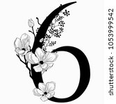 vector hand drawn floral number ... | Shutterstock .eps vector #1053999542
